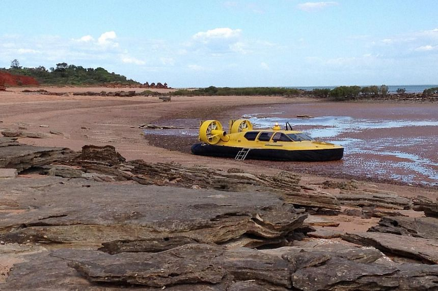 (Above) The hovercraft is the only sign of modernity on a beach filled with some of the world's best-preserved prehistoric fossils. -- ST PHOTO: J PEARLMAN