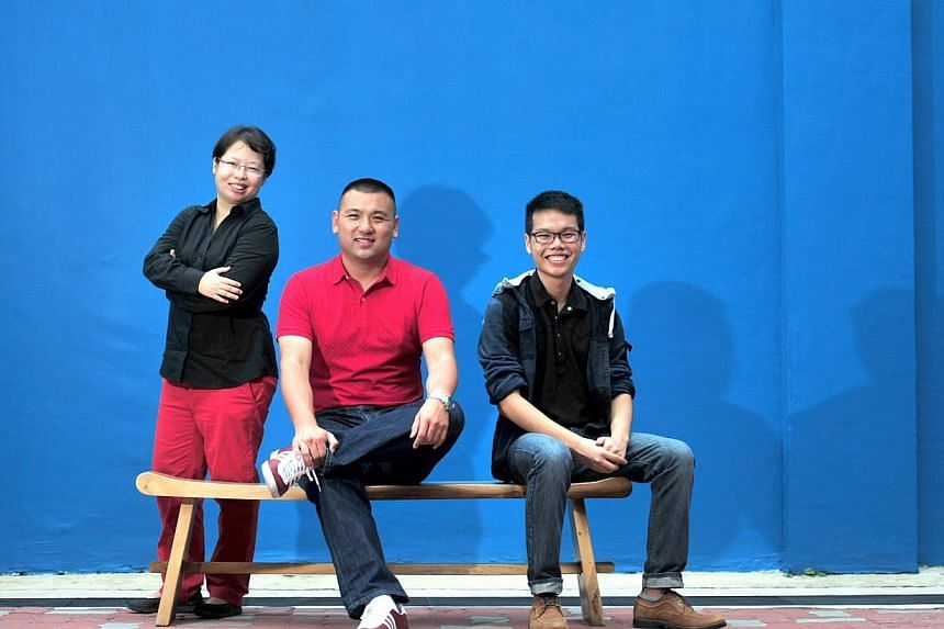 The three scripts written by playwrights (from left) Suzanne Choo, 40, Bryan Tan, 40, and Daniel Chan, 18, will go into development in the inaugural round of Centre 42's Boiler Room initiative. -- ST PHOTO:STEFFI KOH