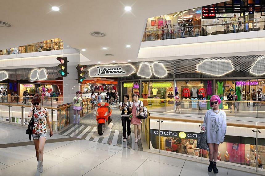 An artist's impression of JCube mall's upcoming J.Avenue retail concept, which will add around 50 stores with a new 10,000 sq ft zone inspired by the popular Harajuku and Hongdae shopping districts in Tokyo and Seoul, respectively.