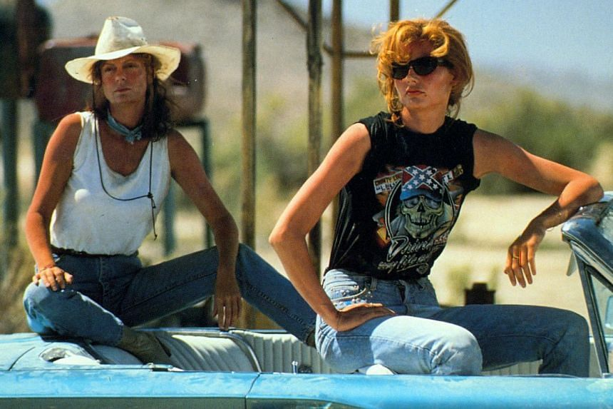 Sarandon (above left) with Geena Davis in Thelma & Louise. -- PHOTO: MGM