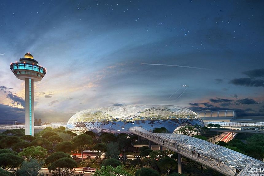 Artist's impression of the Jewel, to open in 2018, at Changi Airport. -- PHOTO: CHANGI AIRPORT GROUP