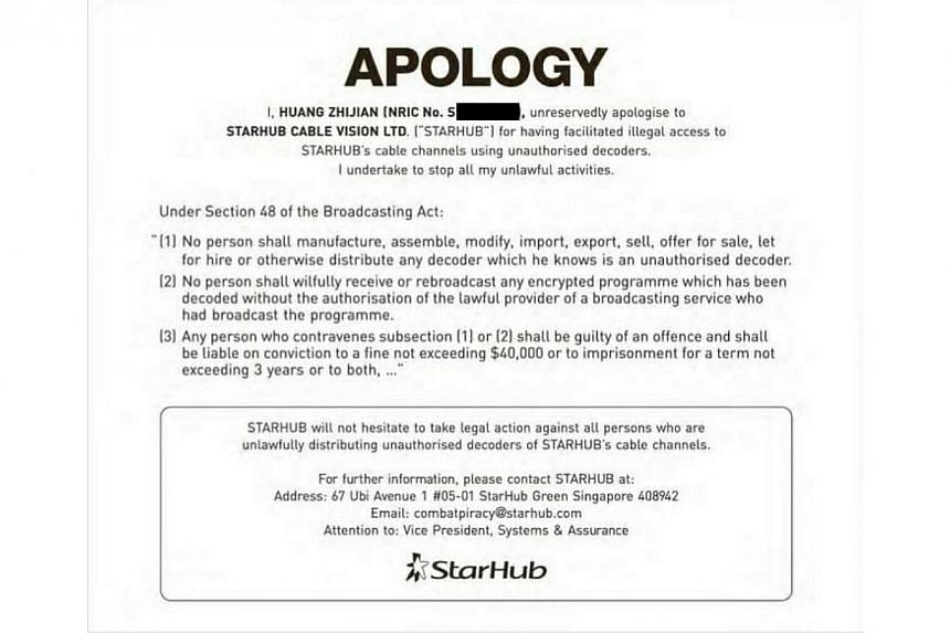 """A man has issued a public apology to StarHub today for """"having facilitated illegal access"""" to its cable channels using """"unauthorised decoders"""". -- PHOTO: SCREEN CAPTURE"""