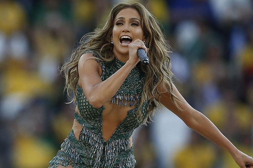 US singer Jennifer Lopez performs during the opening ceremony of the 2014 FIFA World Cup at the Corinthians Arena in Sao Paulo prior to the opening Group A football match between Brazil and Croatia on June 12, 2014.Jennifer Lopez on Sunday prov