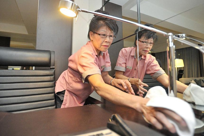 Madam Tan Kim Hing, 66, a housekeeping attendant at Royal Plaza on Scotts. The Central Provident Fund (CPF) scheme may not provide the highest returns, but the returns are fair, and it is also one of the safest retirement funds in the world, sai