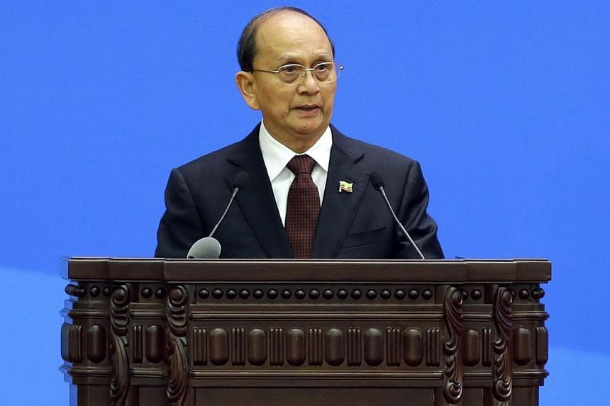 """Myanmar's President Thein Sein delivers a speech at a conference marking the 60th anniversary of the """"Five Principles of Peaceful Coexistence"""" at the Great Hall of the People, in Beijing on June 28, 2014.Myanmar's reformist president has warned"""
