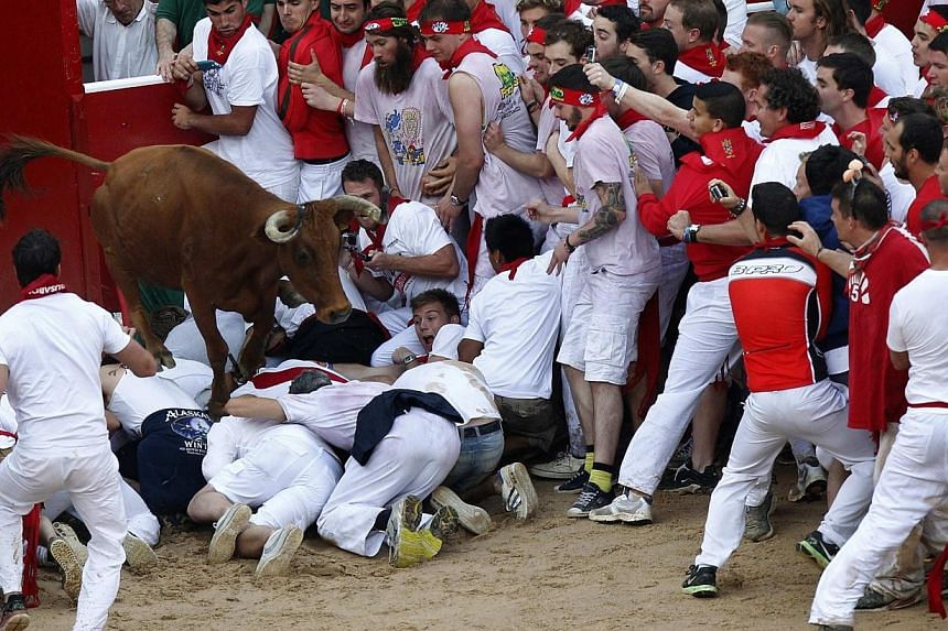 A fighting cow leaps over festival goers as she enters the ring following the first running of the bulls at the San Fermin festival in Pamplona on July 7, 2014. The young cows, known as vaquillas, are released into the ring following each running of