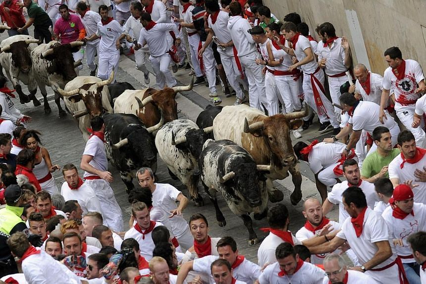 Runners sprint in front of Torrestrella fighting bulls on Santo Domingo street during the first running of the bulls of the San Fermin festival in Pamplona on July 7, 2014. -- PHOTO: REUTERS