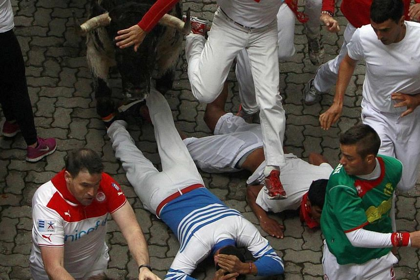 A Torrestrella fighting bull runs over fallen runners at the entrance to the bullring during the first running of the bulls of the San Fermin festival in Pamplona on July 7, 2014. -- PHOTO: REUTERS