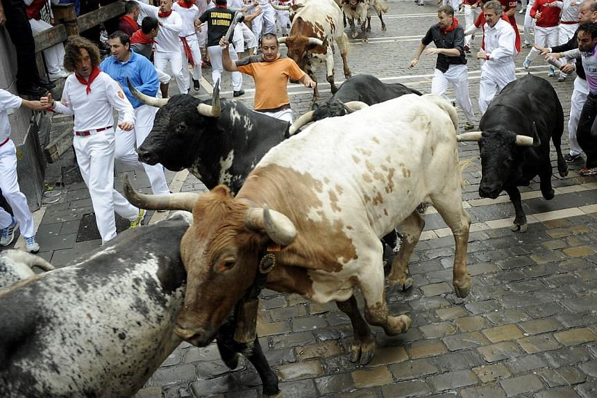 Participants run in front of Torrestrella's bulls during the first bull-run of the San Fermin Festival, on July 7, 2014, in Pamplona, northern Spain. -- PHOTO: AFP