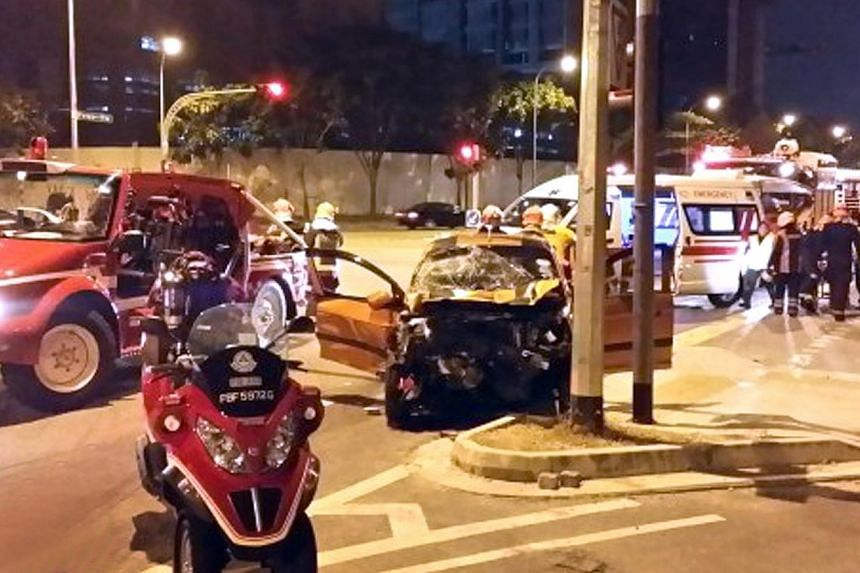 Mr Albert Quek, 71, had been sat in the back of his 24-year-old son James Quek Teck Soon's Kia Picanto when it hit the back of a tipper truck then side-swiped a stationary Hyundai before coming to a stop at a traffic light island. -- PHOTO: STOMP