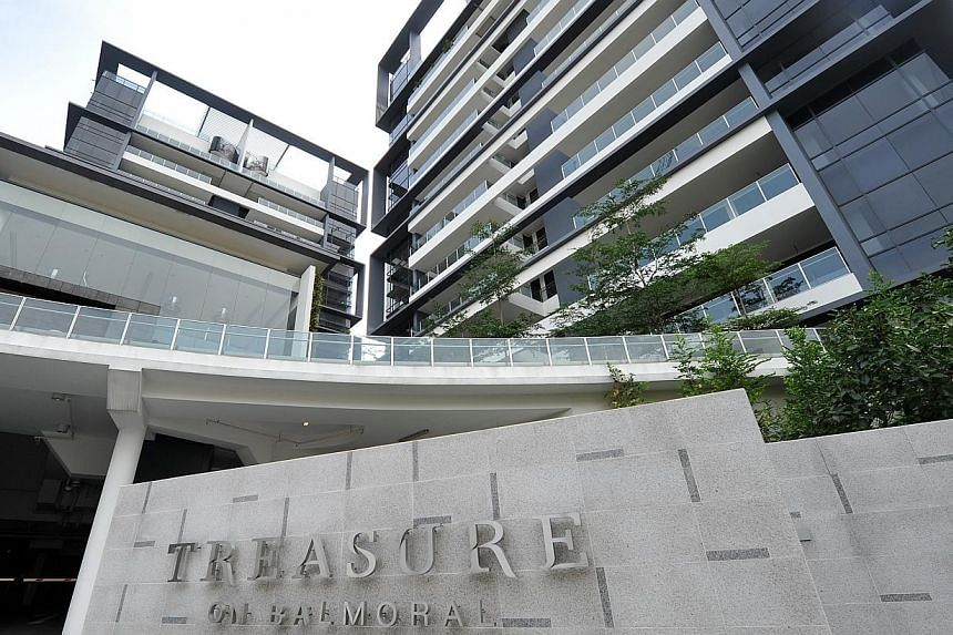 Facade picture of Treasure on Balmoral.All the units at a freehold condominium in the upscale Balmoral area near Orchard have been put up for bulk sale. -- PHOTO: ST FILE