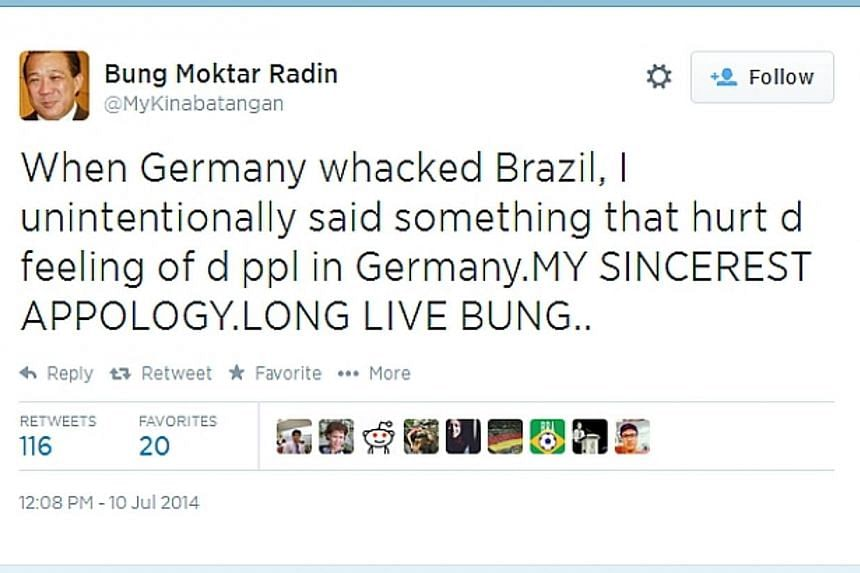 Screen capture from the Twitter account of Malaysian MP Datuk Bung Mokhtar Radin. Mr Bung apologised on Thursday for an offensive tweet praising Adolf Hitler which he posted following Germany's thumping victory 7-1 over Brazil in the F