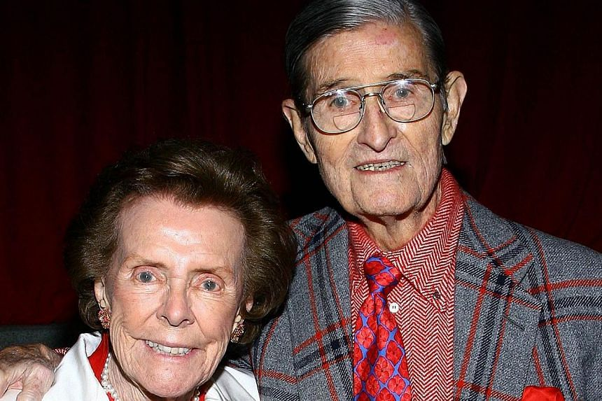 This 2008 file photo shows Eileen Ford (left) and husband Jerry attending the Supermodel of the World event hosted by Ford Models in New York City. Eileen Ford, whose Ford Models agency grew into an international powerhouse and fostered the careers o