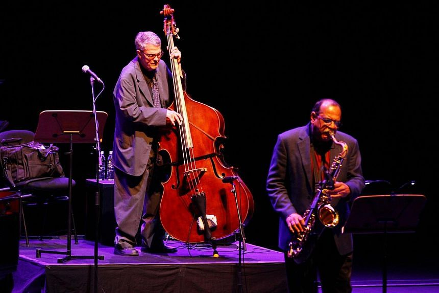 Veteran jazz player Charlie Haden (left) with his Quartet West members performing at the Mosaic Music Festival 2011 at the Esplanade Concert Hall on 12 March 2011. -- PHOTO: THE ESPLANADE CO LTD