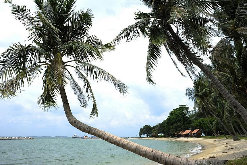 The tranquil lagoon at Sisters' Island is open for swimming while the beach front huts in theh distance provide good shade.Singapore's southern Sisters Islands, and the waters around them, will be the site of the island-state's first marine par