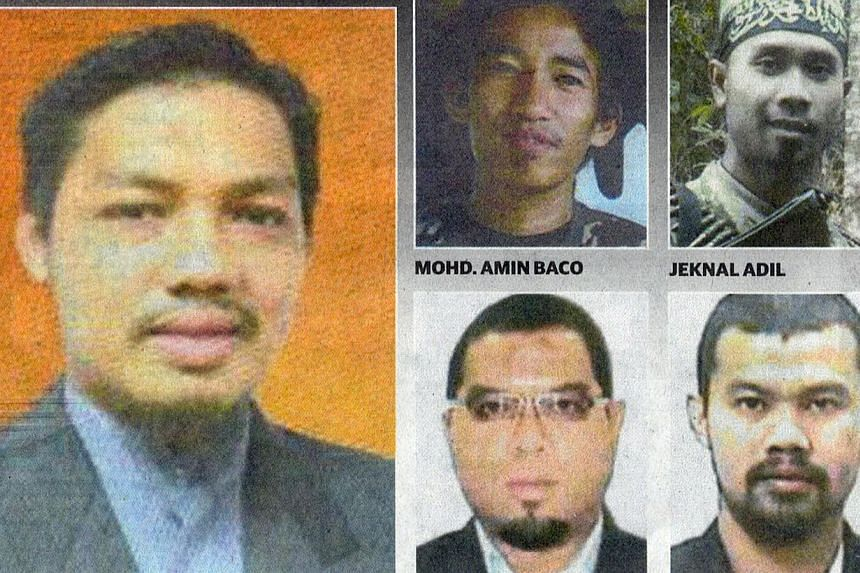 Combination photo of Dr Mahmud Ahmad (left), a lecturer in the Islamic Studies Faculty at the University of Malaya and four other individuals who are wanted for investigations into their alleged involvement in militant activities. -- PHOTO: UTUSAN MA