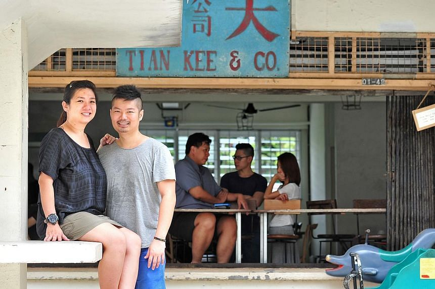 Mr Foo Chee Kow and his wife Jessie Lim (both above) converted provision shop Tian Kee & Co. into a cafe of the same name, and serve dishes such as all-day breakfast, which comes with a roti prata for a local twist. -- PHOTO: STEFFI KOH