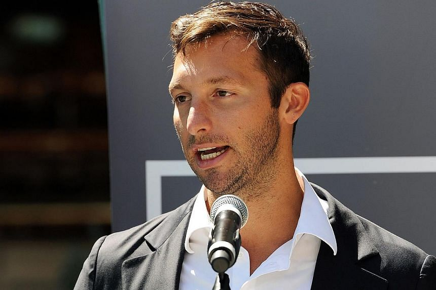 """This file photo taken on Oct 31, 2012, shows Australia's five-time Olympic swimming gold medallist Ian Thorpe at the launch of his autobiography """"This is me"""" in Sydney.Ian Thorpe, Australia's most decorated Olympian, revealed he was gay in an e"""