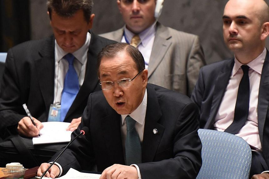 """The United Nations Secretary General Ban Ki-moon addresses the United Nations Security Council during a meeting to discuss the situation in the Middle East July 10, 2014 at the United Nations in New York.""""Too many"""" Palestinian civilians have be"""