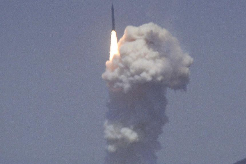 A flight test of the exercising elements of the Ground-Based Midcourse Defense (GMD) system is launched by the 30th Space Wing and the U.S. Missile Defense Agency at the Vandenberg AFB, California on June 22, 2014.The US Defence Department hope