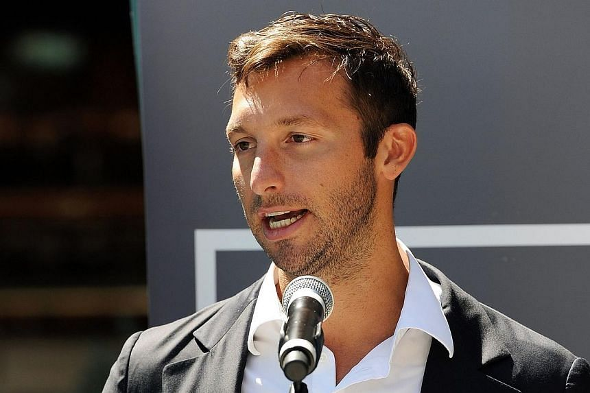 "This file photo taken on Oct 31, 2012 shows Australia's five-time Olympic swimming gold medallist Ian Thorpe at the launch of his autobiography ""This is me"" in Sydney. Swimming giant Ian Thorpe received support and glowing praise on Monday for r"