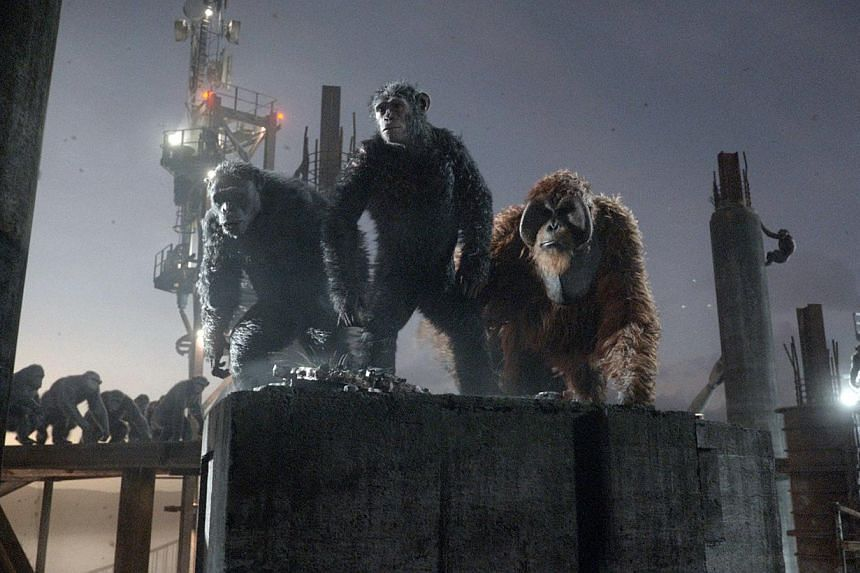 Cinema still: Dawn Of The Planet Of The Apes. Newcomer Dawn Of The Planet Of The Apes clambered to the top at US and Canadian silver screens, edging out the Transformers epic, industry data showed Sunday. -- PHOTO: TWENTIETH CENTURY FOX