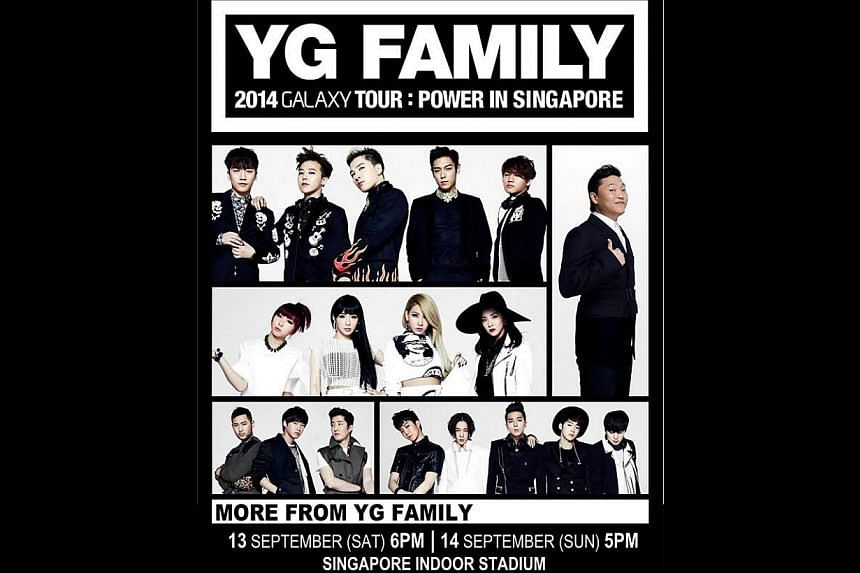 South Korean entertainment agency YG is brings its stable of artists to town. It will be holding its first YG Family concert in Singapore this September. -- PHOTO: FACEBOOK / ONE PRODUCTION