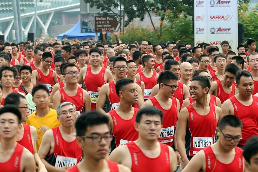 Runners taking part in the Safra Singapore Bay Run and Army Half Marathon on Sept 9, 2012.The 23rd SAFRA Singapore Bay Run and Army Half Marathon, to be held on August 31, will feature an enhanced running route to avoid congestion underneath th