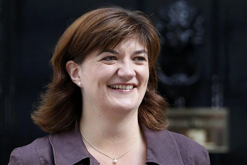 Britain's new Secretary of State for Education Nicky Morgan leaves 10 Downing Street after her appointment in central London on July 15, 2015.-- PHOTO: REUTERS