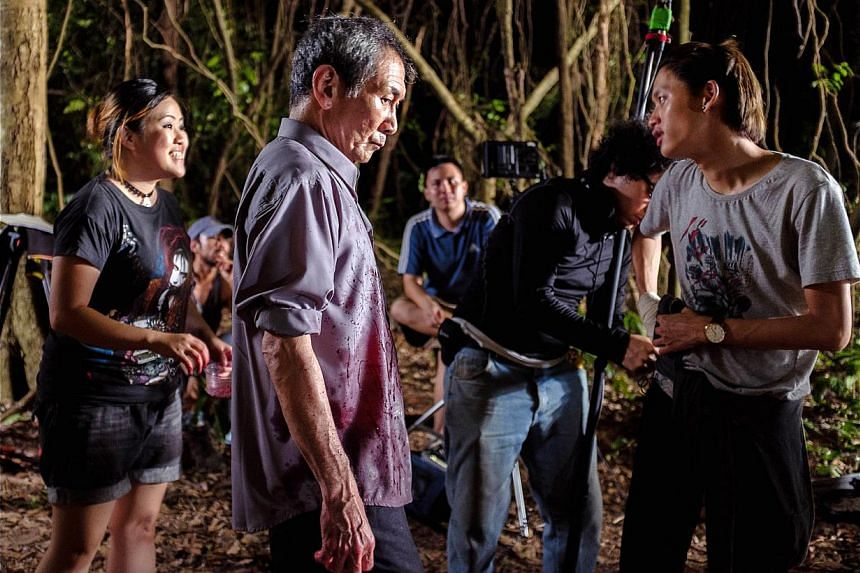 Crime drama The Body by Kenny Gee, starring Lim Kay Tong (centre) and Noah Yap (right), beat its US$20,000 target to raise US$29,050 on Indiegogo. -- PHOTO: MATIN LATIF