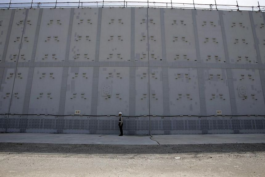 A worker stands in front of an 18-m (59-ft) high and 1.6-km (1-mile) long tsunami defence wall at Chubu Electric Power Co.'s Hamaoka Nuclear Power Station in Omaezaki, Shizuoka Prefecture, in this file picture taken May 17, 2013.Japan's nuclear