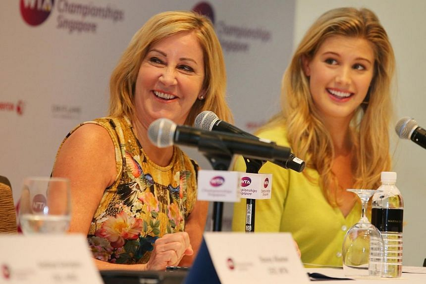 Chris Evert (left) former world No. 1 tennis player and Eugenie Bouchard, the current world No. 19 tennis player at a press conference held at the Singapore ArtScience Museum. Local telco StarHub reaffirmed its support for local sports on Thursd
