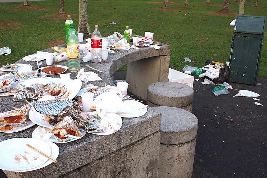 Trash left behind after a picnic at Pasir Ris Park. -- PHOTO: YONG YOKE KENG