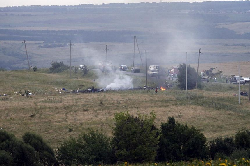 "The site of a Malaysia Airlines Boeing 777 plane crash is seen near the settlement of Grabovo in the Donetsk region on July 17, 2014. Canadian Prime Minister Stephen Harper called Russian aggression ""the root of the ongoing conflict"" in Ukraine on Th"