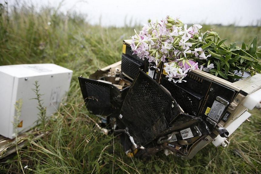 Flowers lie on debris from a Malaysian Airlines Boeing 777 plane which was downed on Thursday near the village of Rozsypne, in the Donetsk region on July 18, 2014. First came the loud explosion that made buildings rattle: Then it started raining