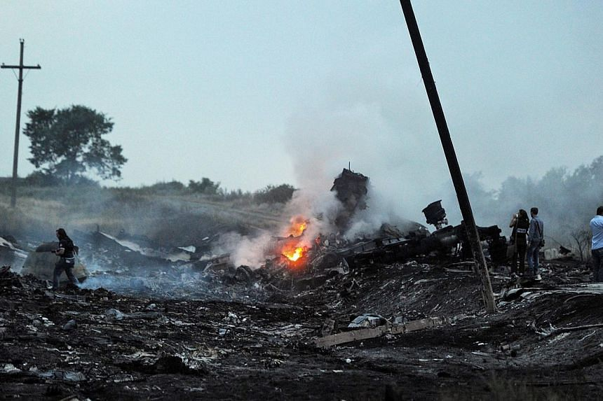 People stand, on July 17, 2014, amongst the wreckage of the Malaysian airliner carrying 298 people from Amsterdam to Kuala Lumpur after it crashed, near the town of Shaktarsk, in rebel-held east Ukraine. -- PHOTO: AFP