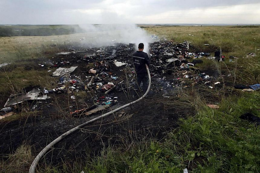 A man works at putting out a fire at the site of a Malaysia Airlines Boeing 777 plane crash in the settlement of Grabovo in the Donetsk region, July 17, 2014. -- PHOTO: REUTERS