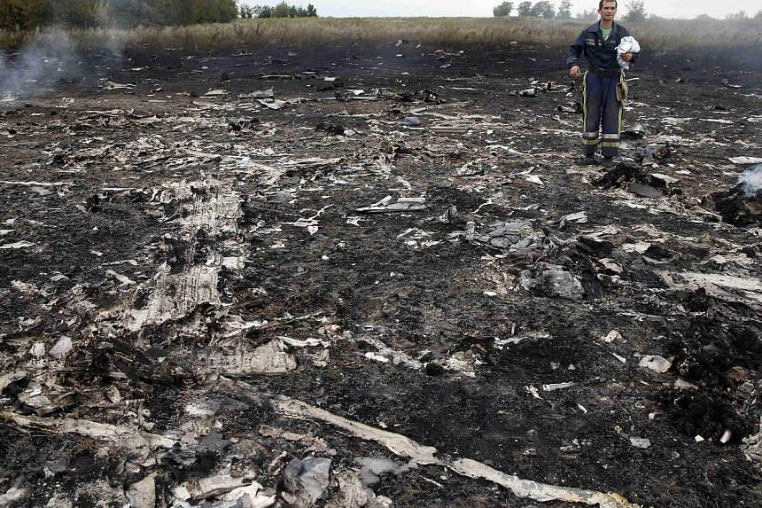 An emergencies ministry member walks at the site of a Malaysia Airlines Boeing 777 plane crash near the settlement of Grabovo in the Donetsk region on July 17, 2014. -- PHOTO: REUTERS