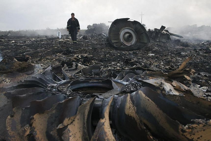 An emergencies ministry member walks at a site of a Malaysia Airlines Boeing 777 plane crash near the settlement of Grabovo in the Donetsk region, July 17, 2014. -- PHOTO: REUTERS