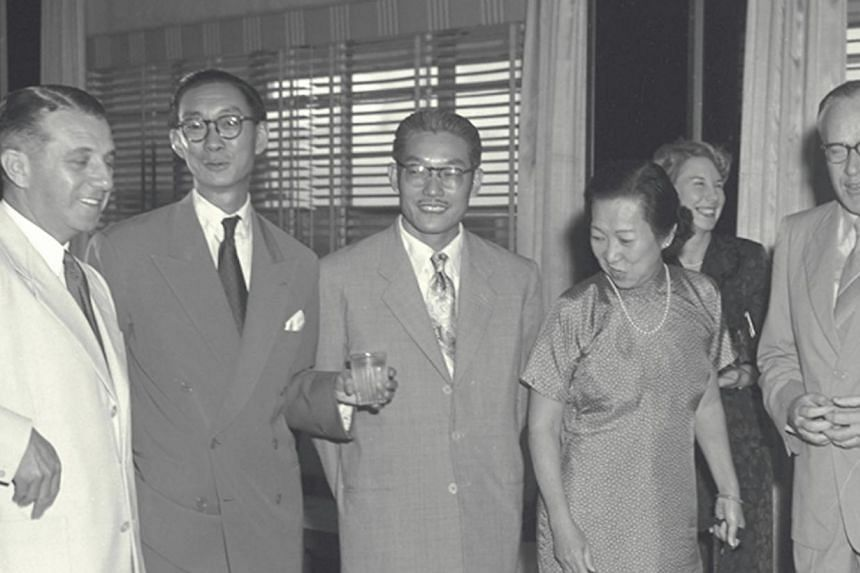 Opening of the Cathay Hotel. Mr Loke Wan Tho (second from left), head of the Cathay Organisation, celebrating the occasion with a cocktail party. The film conglomerate Singaporeans now know as the Cathay Organisation was set up on July 18,