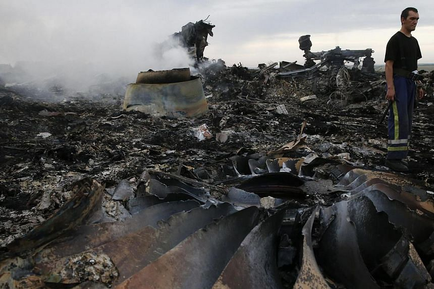 An Emergencies Ministry member walks at the site of a Malaysia Airlines Boeing 777 plane crash near the settlement of Grabovo in the Donetsk region, on July 17, 2014.Rescue workers at the crash site of Malaysian airliner MH17 in eastern Ukraine