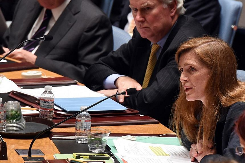 US Ambassador to the United Nations Samantha Power speaks at the United Nations Security Council meeting on July 18, 2014, at the United Nations in New York. -- PHOTO: AFP