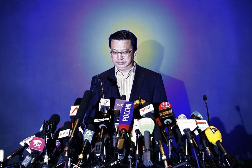 Malaysia's Transport Minister Liow Tiong Lai speaks during a news conference at a hotel near the Kuala Lumpur International Airport in Sepang on July 19, 2014.Malaysia Airlines (MAS) flight MH17's flight path was considered a safe route, said M