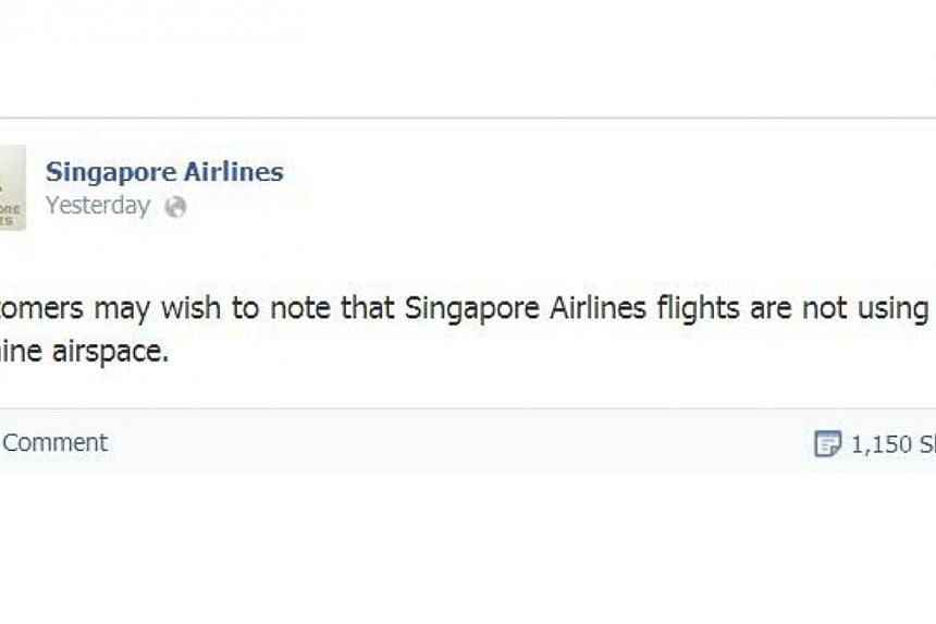 A screengrab of Singapore Airlines' Facebook posting that the airline does not fly over Ukraine airspace, which has come under fire by many users who felt that it was in bad taste. -- SCREENGRAB: FACEBOOK / SINGAPORE AIRLINES