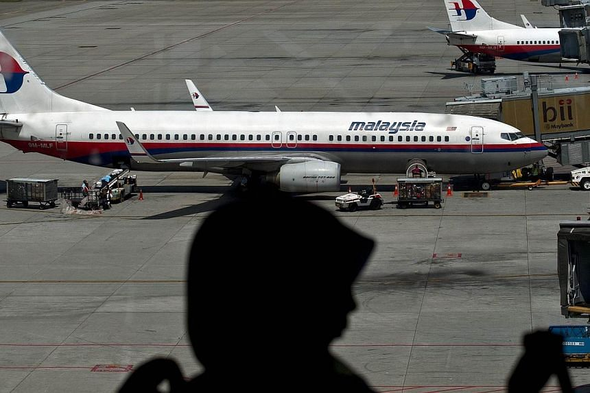 A passenger is silhouetted as she walks past Malaysia Airlines planes parked on the tarmac at Kuala Lumpur International Airport in Sepang on July 19, 2014. -- PHOTO: AFP