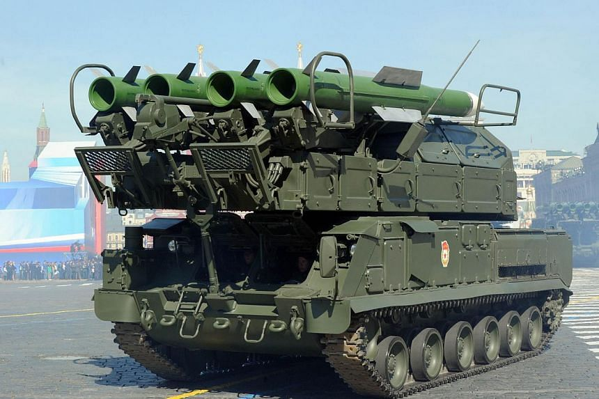 This file picture taken on May 9, 2013 shows a Russian air defence Buk-2M arnoured vehicle at the Red Square in Moscow during Victory Day parade. The United States has confirmed that Russia supplied sophisticated missile launchers to rebels in e