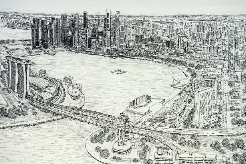 A close-up of architectural artist Stephen Wiltshire's panorama of the Singapore cityscape, which he completed after five days. -- ST PHOTO: DESMOND WEE