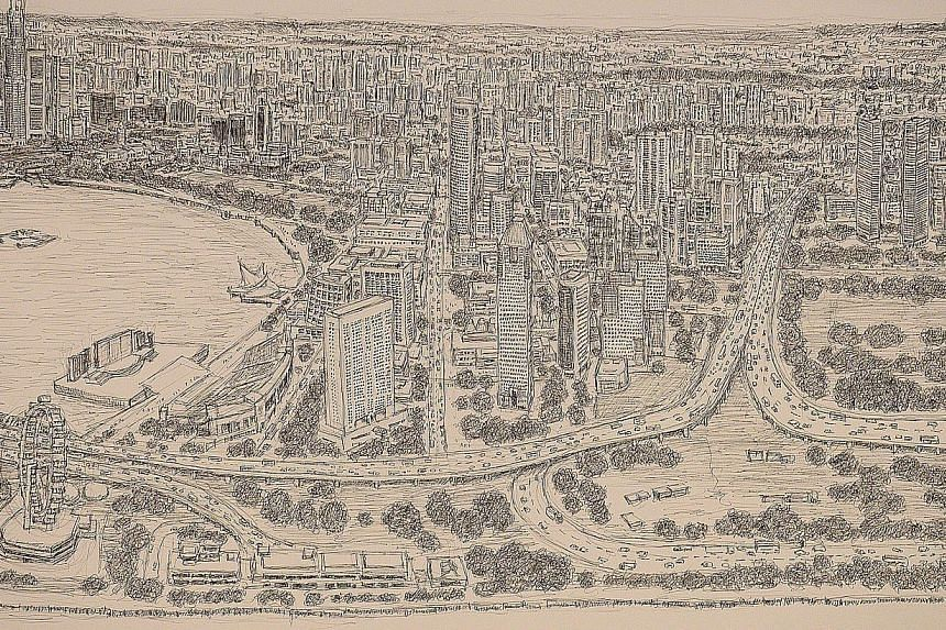 A close-up of architectural artist Stephen Wiltshire's panorama of the Singapore cityscape, which he completed after five days.-- ST PHOTO:DESMOND WEE