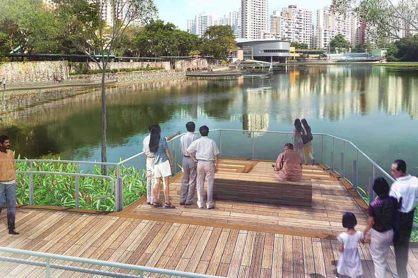 An artist's impression of how the Pang Sua Pond in Bukit Panjang will look.-- PHOTO: PUB