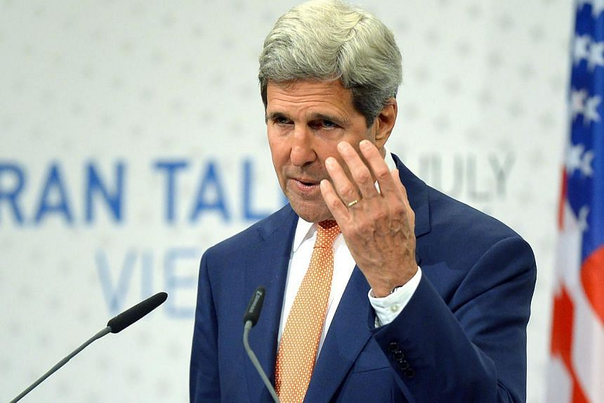 US Secretary of State John Kerry speaks during his final press conference after talks over Tehran's nuclear program in Austria Convention Centre in Vienna, on July 15, 2014. US Secretary of State John Kerry appeared to criticize Israel in candid